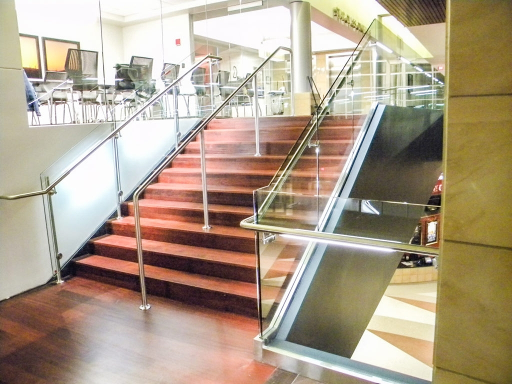 Is A Top Rail Required For Glass Railing Update On This | Glass Handrails For Stairs | Wood | Frameless | Outside | Standoff | Residential