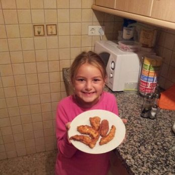 Anya made her own Chicken Fingers
