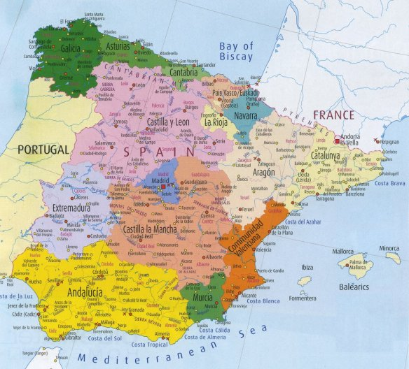 Spain map- visit Galicia, visit Asturias, Visit Cantabria, Visit La Rioja, Visit Northern Spain.