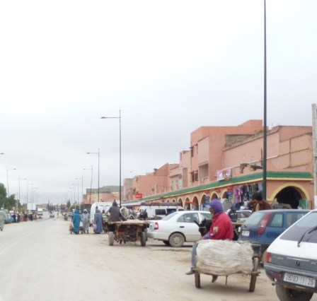 Driving in Morocco A town outside of Marrakech