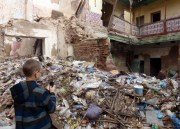 A dumping ground near a dilapidated building in Marrakech Medina