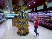 Shopping in Almunecar - Grocery Store Mercadona with flat stanley and Jamon