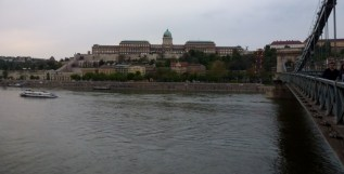 Night River Walk Budapest Hungary The Royal Palace at dusk