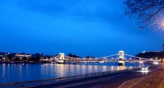 Night Walk Danube River - Budapest Hungary Chain Bridge reflecting in water