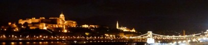 Night Walk Danube River - Budapest Hungary The Royal Palace, Castle Distrct and Chain Bridge