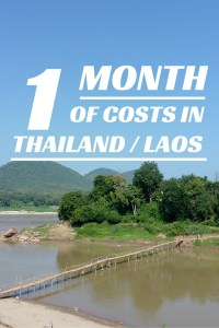 1 month costs Thailand and Laos
