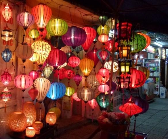 Silk lamps in Hoi An Vietnam