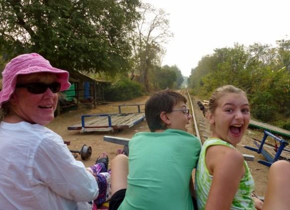 Bamboo Train Battambang Cambodia having fun!