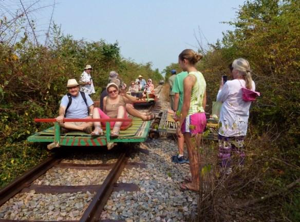 Bamboo Train Battambang Cambodia - we lost the game of chicken