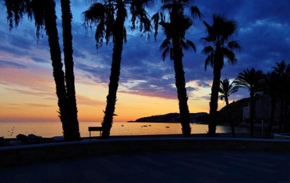 Almunecar sunset along playa San Cristobal