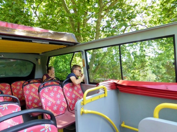 Santander Bus tour. The kids were waving at people