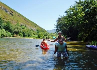 Lars and Anya strike a pose. Canoeing Arriondas Asturias Spain