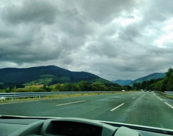 Driving through the Basque Country Spain