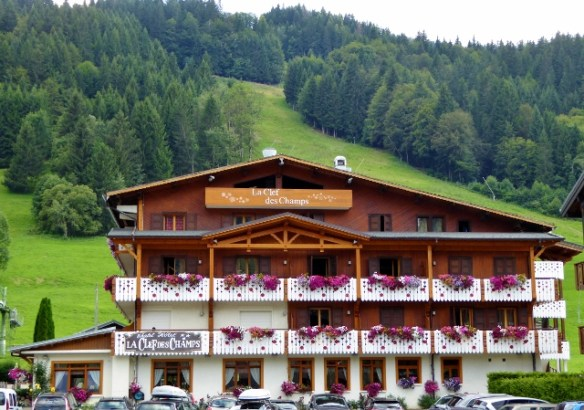 Morzine storybook setting with hills and hotel