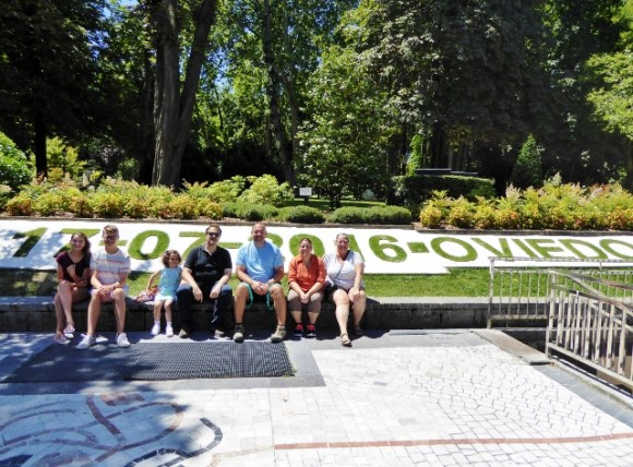 Campo San Francisco Park in the center of Oviedo Asturias. Each day they change the date on the grass. So cool! We are pictured here with the Martinez family who were kind enough to show us around their town.
