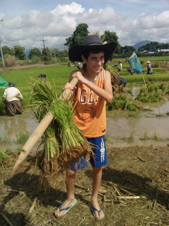 Little boy carrying rice Thailand hilltribe experience