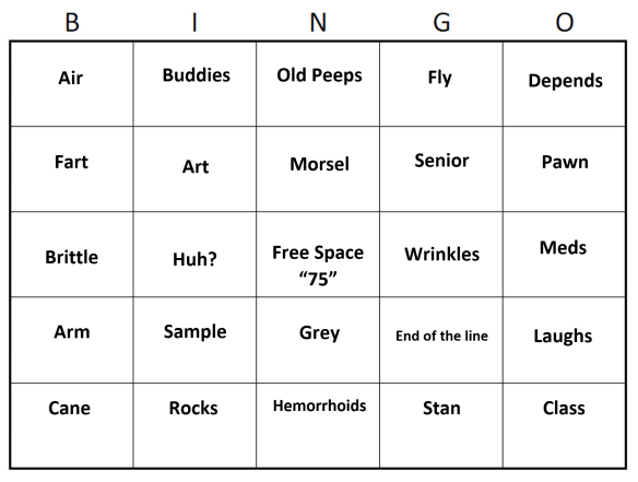 Custom Bingo Card for 75th birthday clues.