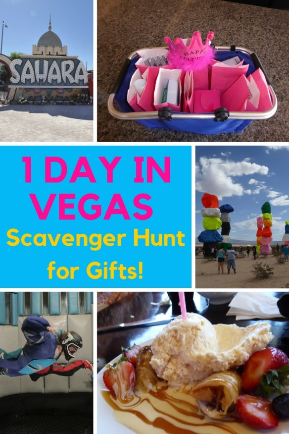 Scavenger hunt for gifts - one day in Vegas. If you only have 1 Day In Vegas and want to get out of the main tourist area, then we have some great plans for you!  We spent the majority of the day away from the strip or Fremont Street and wanted to see another side of Las Vegas.  As an added bonus you will also see how we like to give gifts in a unique way.  This was a full day planned to surprise Gma Bev for her 75th Birthday in Vegas! Read more on WagonersAbroad.com