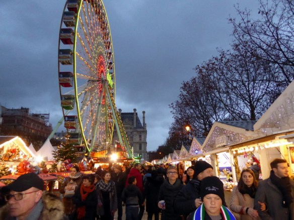Paris Christmas Market at Tuileries Garden area near the Louvre