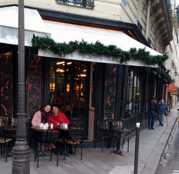 Sipping Hot Chocolate with Grandma in Paris near notre dame