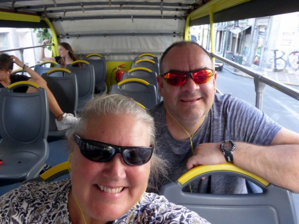 loving the tour on the hop on hop off bus, time to get situated