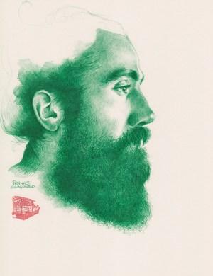 Green Beard | original drawing by France Van Stone