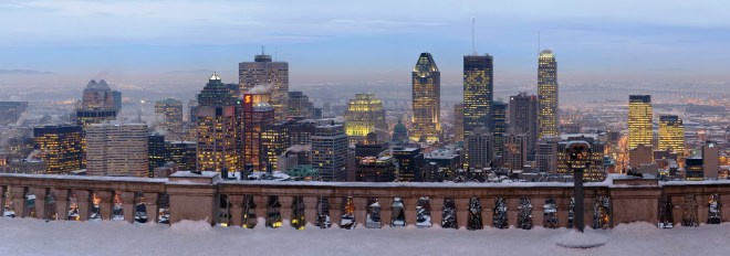 View of downtown Montreal from the Mont-Royal lookout in winter