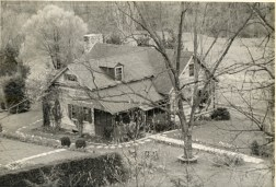 Birds-eye view of lodge, circa 1950