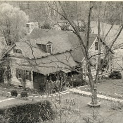 Birds-eye view of lodge, circa 1950