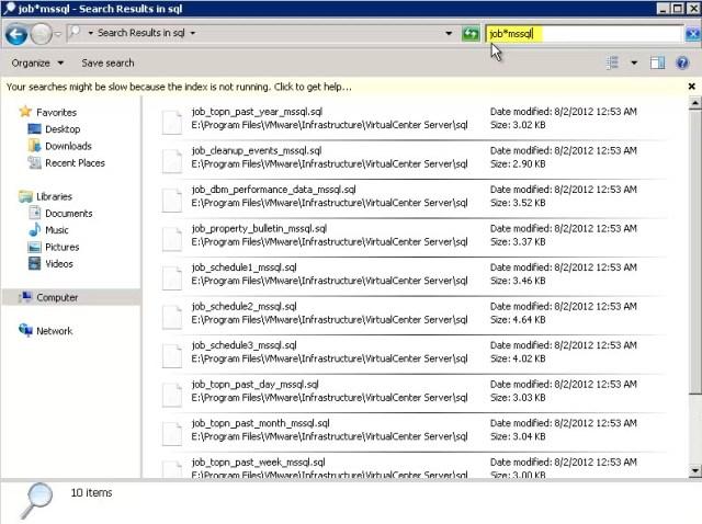 Filtering by MSSQL Job files
