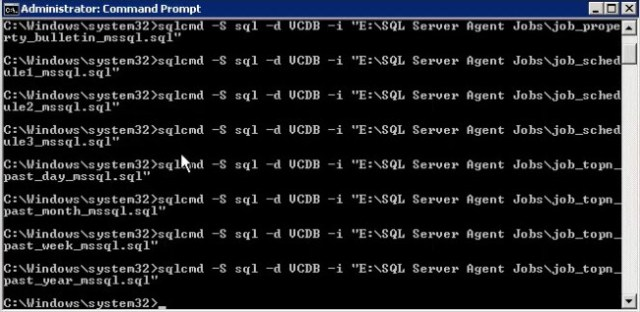Using an elevated command prompt to add the SQL Agent jobs