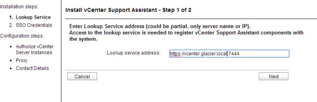 Entering the vCenter lookup service address