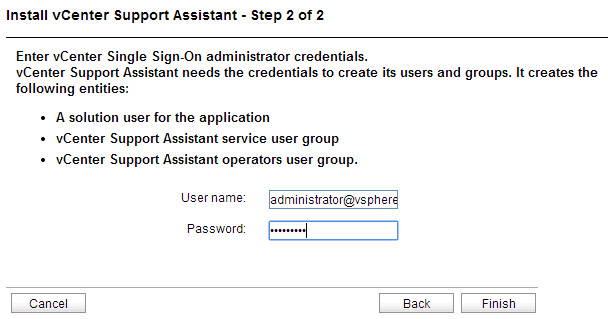 Providing the SSO admin credentials