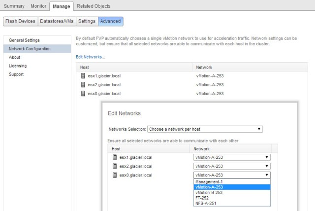 Selecting new networks for your FVP flash cluster