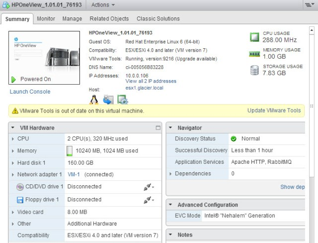 Details on the OneView appliance virtual machine