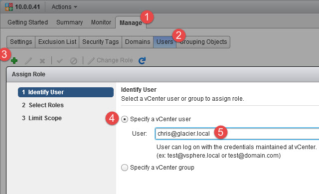 Granting the Chris user access to NSX