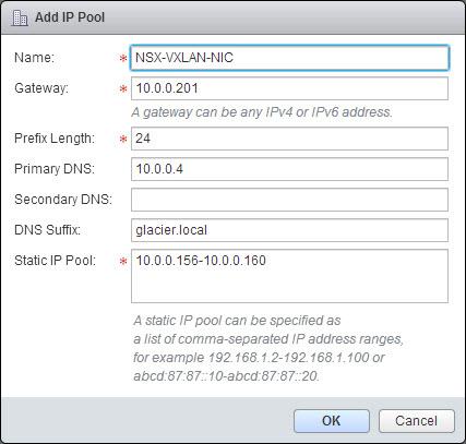 Building the IP Pool used for VTEP VMkernel ports