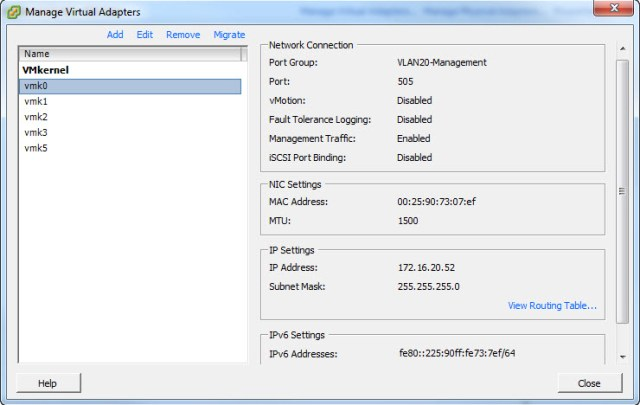 Resource ESXi Host Networking
