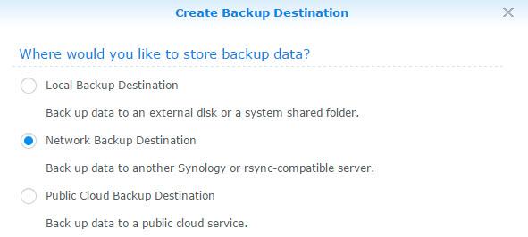 New Network Backup Destination