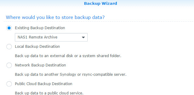 Backup Task Destination