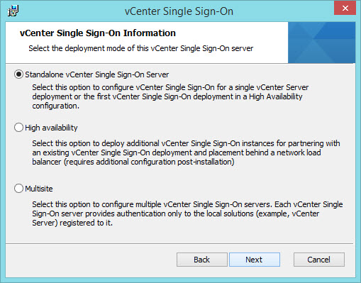 Modified vCenter Single Sign-On (SSO) Options in 5 5 Update