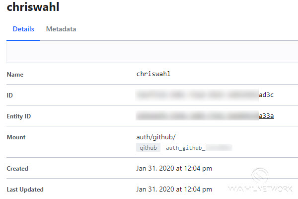 My account has been authorized by Vault via the GitHub auth.