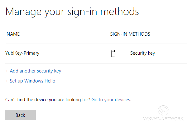 You can configure multiple security keys for your Microsoft account.
