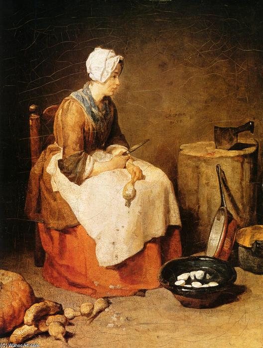 kitchen maid hand painted backsplash tiles 厨房女仆 1740 通过jean baptiste simeon chardin 1699 1779 france