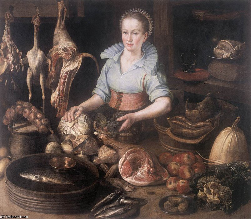 kitchen maid led lights 厨房女仆通过dirck van rijswijck 1596 1679 germany 畫再現