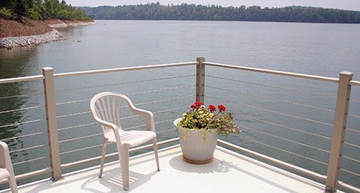 aluminum boat dock rail - cable railing from wahoo docks