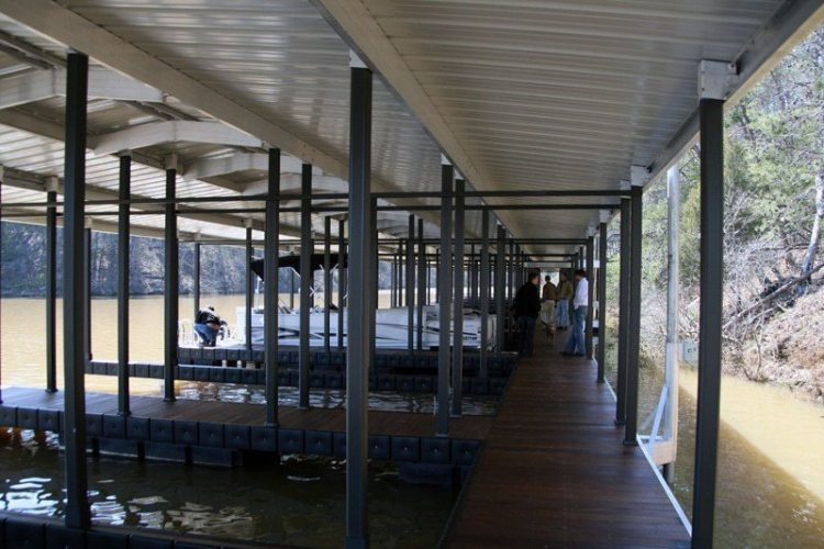 wahoo aluminum docks multi slip dock with painted poles and ipe dock decking