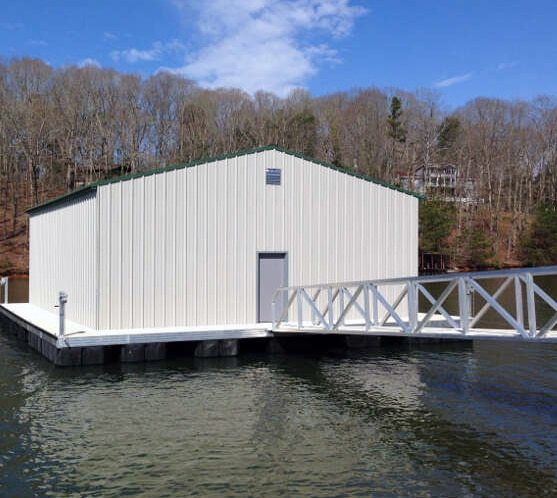 floating aluminum dock construction with office and aluminum gangway