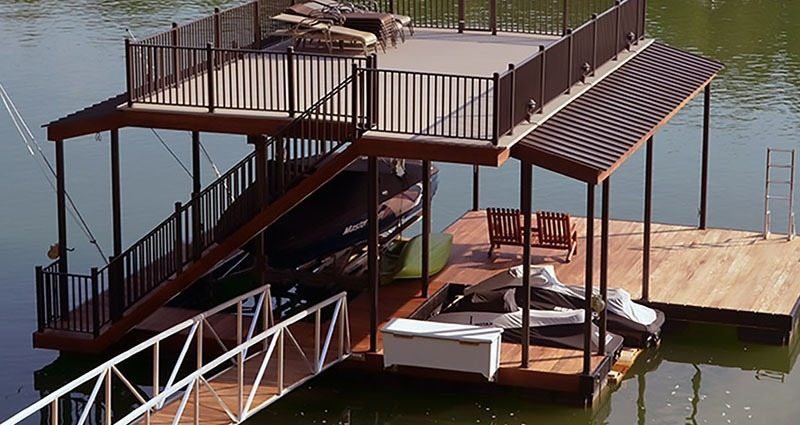 wahoo aluminum dock with aluminum gangway and jet ski slip upper deck shade
