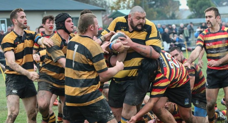 NOT BUDGING: Big Wiremu Wolland with the ball for Eketahuna against Greytown. Matching Carterton upfront will be key for Eketahuna this weekend as they bid for a place in the Tui Cup semi-finals. Photo courtesy of Catherine Rossiter-Stead.
